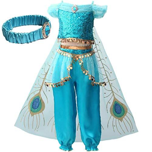 IWFREE Mädchen Kostüme Prinzessin Jasmine Aladdin Kostüm Verkleidung Faschingskostüm Bauchtanz Kleid Karneval Cosplay Party Halloween Festkleid Kleider Geburtstag Party Ankleiden
