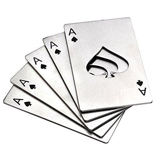 MINGZE 5 Stück Flaschenöffner, Bier Flaschenöffner, Edelstahl Kreditkartenformat Casino Flaschenöffner für Ihre Brieftasche (Silber)