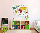 Wandtattoo Wandsticker Weltkarte Kinderzimmer (Bunt)