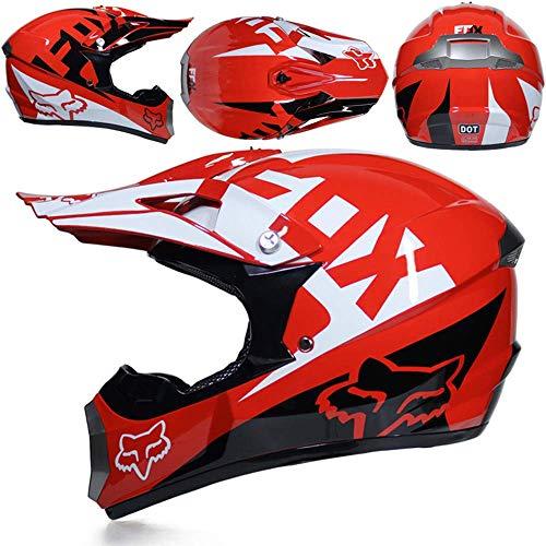 GAOLI Casco Motocross Adulto, Maschera Maschere Regalo Guanti, Fox Moto Racing Casco Integrale per Uomo e Donna,E,XXL