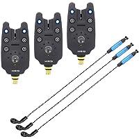 Hirisi Lot de 3 détecteurs de touche pour pêche à la carpe - Finition caoutchouc - Bleu
