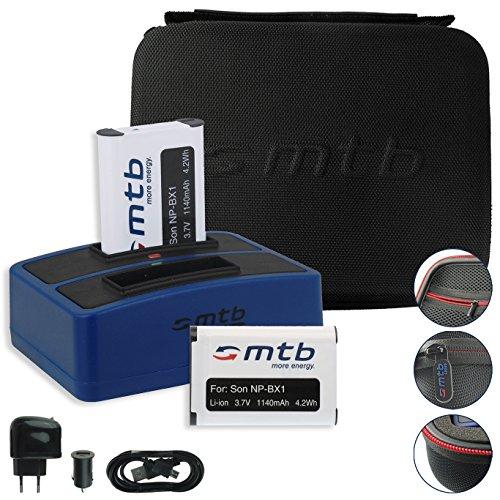 SPARSET: mtb more energy® Schutztasche XL schwarz + 2X Akku + Dual-Ladegerät für Sony Action Cams FDR-X1000VR, X3000R / HDR-AS300(R), AS200V, AS100V, AS50. - s. Liste! -