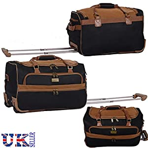 "New EAGLE Suede Leather Travel Luggage Wheeled Holdall Suitcase Duffle Bag Carry Bags 36"" BLACK Brown 2658"