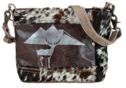 Domelo Tracht Damen Trachtentasche Dirndltasche Umhängetasche aus Leder/Kuhfell (Leder Schwarz Kuhfell)