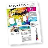 TATMOTIVE FA4200M50 Fotokarton Fotopapier 200g matt weiß/Laserdrucker/DIN A4 / Beidseitig bedruckbar / 50 Blatt
