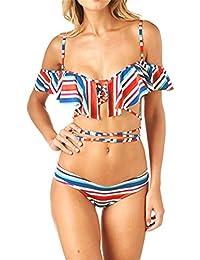 ECYC Women Sexy Low Waist Bikini Suit Fashion Wave Swimwear