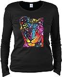 Damen Langarmshirt mit Motiv: Young Lion - Katzenmotiv - Geschenk - Pullover, Pulli - Farbe: schwarz