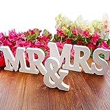 BESTZY MR & MRS Holz Buchstabe Holzbuchstaben Hochzeit Dekoration Geschenk für Liebhaber Deco Herr & Frau Zeichen Hölzerne Buchstaben Tischdekoration