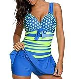 KEERADS Tankini Damen Bauchweg Große Größe V-Ausschnitt Streifen Polka Dot Bademode Schwimmkleid + Shorts (5XL, Blau)