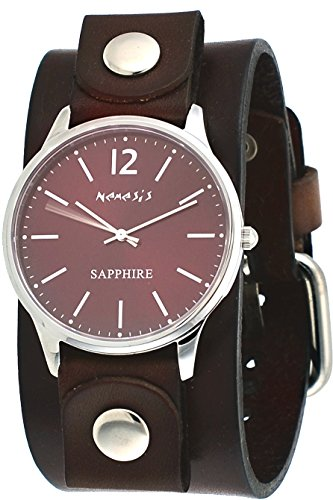 Nemesis DFBN252B Men's Signature Sapphire Red Dial Brown Wide Leather Band Watch