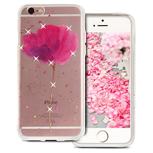 Case iPhone 6S , Coque iPhone 6 , Anfire Étui Souple Flexible en Premium TPU Apple iPhone 6S / 6 (4.7 pouces) Motif Azteque Ultra Mince Gel Silicone Cas Bling Bling Strass Clair Transparent Housse de  Bleu Navy
