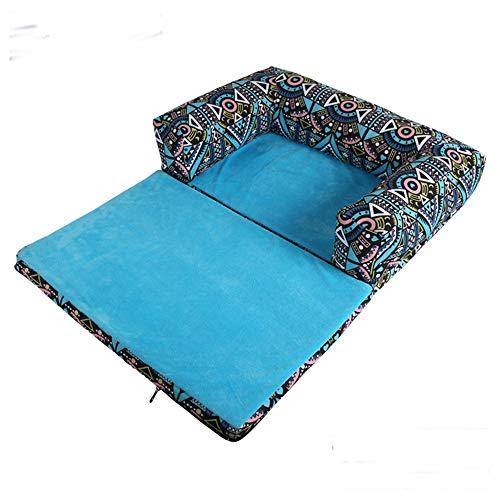 Henlooo cuccia per cani, letto pieghevole per cani, lussuoso letto per cani blu, letto per cane rimovibile, (x: 55 * 45 * 12 cm)