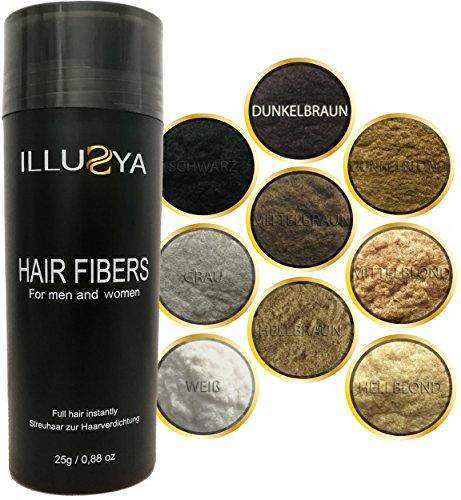 ILLUSYA® Schütthaar - Streuhaar - Hair Fibers zur Haarverdichtung - Premium Qualität, in Sekunden volles Haar - 25g (Dunkelbraun) Dunkel Braun