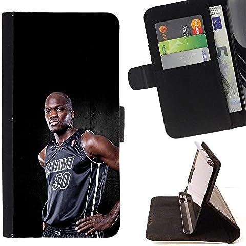 For Sony Xperia Z3 Compact / Z3 Mini (Not Z3) Case , Miami 50 Baloncesto- la tarjeta de Crédito Slots PU Funda de cuero Monedero caso cubierta de piel