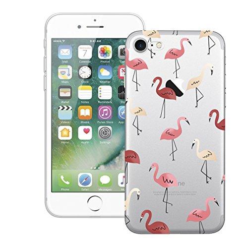HB-Int Hülle für iPhone 7 Schutzhülle Transparent mit Flamingo Blumen Palme Muster Etui Silikon Handyhülle Flexible Slim Case Cover Ultra Dünn Durchsichtige Handytasche Flamingos
