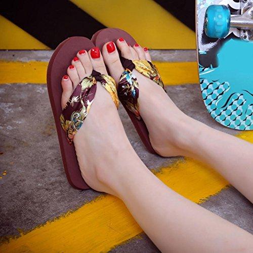 Chaussures de plage, Internet Femmes Été EVA Fleur Tongs Marron