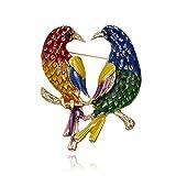 FGTYJ Cartoon Blauer Vogel Brosche Niedliche Emaille DREI Vögel Tier Pin Button Rucksack Jeansjacke Pin Kragen Revers Abzeichen Schmuck Für Kinder