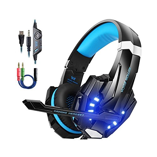 Kotion Each PS4 Gaming Headsets mit Mikrofon LED Xbox One Headset Band Pro Stereo Kopfhörer Über-Ohr-Bass Noise Cancelling Stereo-Kopfhörer Handy spiele PC Multimedia Laptop Mac PS3 G9000 Blau