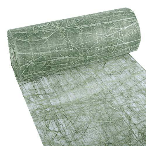 Dekoweb® Tischläufer - Tischband - Moosgrün - 30 cm Breite - 15 m Länge + 100 gespiegelte Deko Herzen Gratis - 54-300-15-029 Mesa Olive