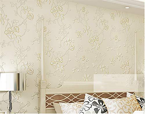 UNIQUE-F Europäische Pastorale Vliestapete 3D dreidimensionale Relief warm Schlafzimmer Wohnzimmer Sofa Hintergrund Nicht selbstklebend -