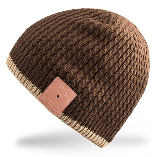 Mydeal Washable Bluetooth Beanie Hat Music Cap with Wireless Stereo Over Ear Headphone Headset Earphone Speaker Microphone Hands Free for Iphone Ipad Samsung Android Cell Phones,Christmas Gift - Brown