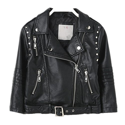 ca7b80d6aae0 Get LJYH Kid s Lapel Belt Buckle Girls Boys Zipper PU Motorcycle ...