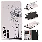 Sony Xperia XZ Case Cover [Anti-Scratch][Waterproof], Cozy Hut Practical Fashionable Creative Retro Patterns PU Folio Leather Wallet Designer Flip Magnetic with [Wrist Strap] and [Card Holder Slot] Shock Absorber Full Body Protection Holster Case Cover Skin Shell for Sony Xperia XZinch - Dandelion lovers