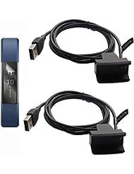 2-PACK 100CM Cargador de Fitbit Alta Con Reset Botón + protector de la pantalla, TUSITA® del reemplazo de carga USB cable de alambre del clip para cable de Fitbit Alta