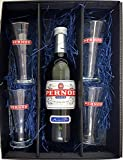 Pernod Geschenkset - Pernod 70cl (40% Vol) + 4x Gläser 2cl geeicht