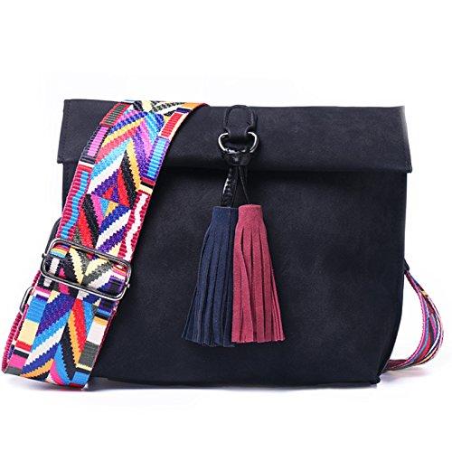 AASSDDFF Frauen Scrub Design Umhängetasche Mädchen mit Quaste Bunte Gurt Umhängetasche Weibliche Kleine Klappe Handtaschen,Schwarz,24Cmx9Cmx20Cm