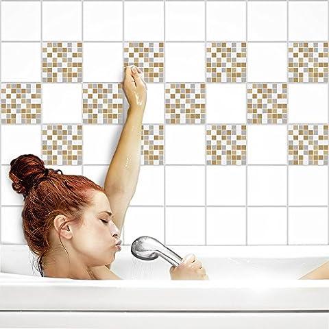 Fliesenaufkleber für Küche und Bad | Fliesenfolie für 15x20cm Fliesen | Mosaik Steam-Punk matt | 8 Stück | Klebefliesen günstig in 1A Qualität von PrintYourHome