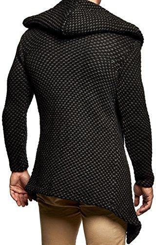 LEIF NELSON Herren Kapuzenpullover Strickjacke Hoodie Jacke Sweatjacke Zipper Sweatshirt LN20742 Schwarz