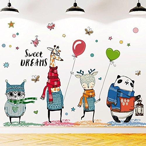 WandSticker4U- XL Wandtattoo 4 GOOD FRIENDS | Wandbild: 140x70 cm | Wandsticker Kinderzimmer Eule Giraffe Reh Panda Schmetterlinge Aufkleber Tiere Poster Wanddeko Babyzimmer GROSS