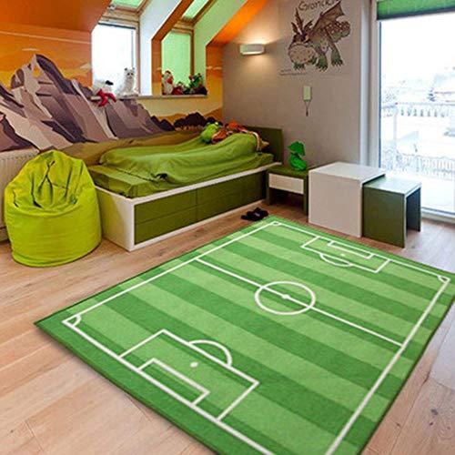 Teppich Kinderzimmer Fußball Spielteppich Kinderteppich Fußballplatz,130 x 100 cm