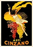 Birre Vintage, i vini e alcolici ASTI CINZANO, Italia, 1920, da Leonetto Cappiello., Cartolina illustrata, formato A3, 250 g/mq, riproduzione …