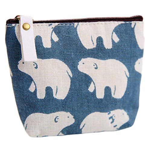 weimay Portafogli fumetto cerniera Monete sacchetto piccolo Mappe Borsa per Trucco chiave, Blu Wale Grün Baum Muster 11.5 * 9.5cm Blau