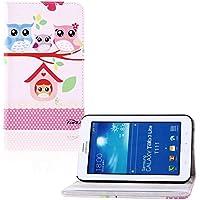 tinxi® PU piel funda para Samsung Galaxy Tab 3 7.0 Lite T110 T111 T113 T116 7 pouces (17,78 cm) popular y nuevo con el dibujo de la familia de las lechuzas