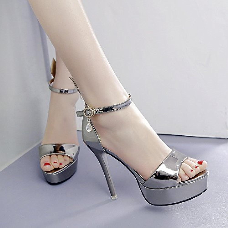 Table de phoque super talon avec des sandales de femme, couleur pistolet, trente-cinq