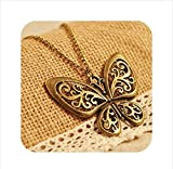 #6: Retro heavy hollow butterfly Chain Fashion Pendant Necklace For Women & Girls By Stylish Teens
