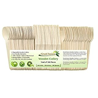 300-Piece Disposable Wooden Cutlery - 300 Pcs Total [100 Forks, 100 Spoons, 100 Knives] 6