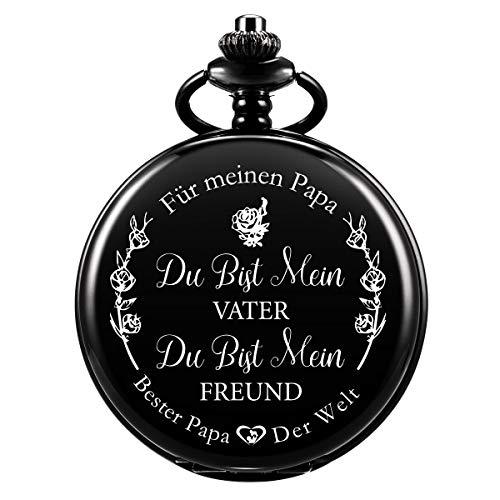 Taschenuhr - ManChDa Taschenuhr mit Gravur Kette Herren Schwarz Geschenk zum Geburtstag Vatertag Vater Vatertagsgeschenk