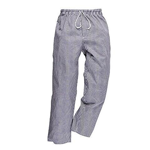 PORTWEST pantalon de cuisine coton élastiqué - - XXS - Pied de poule