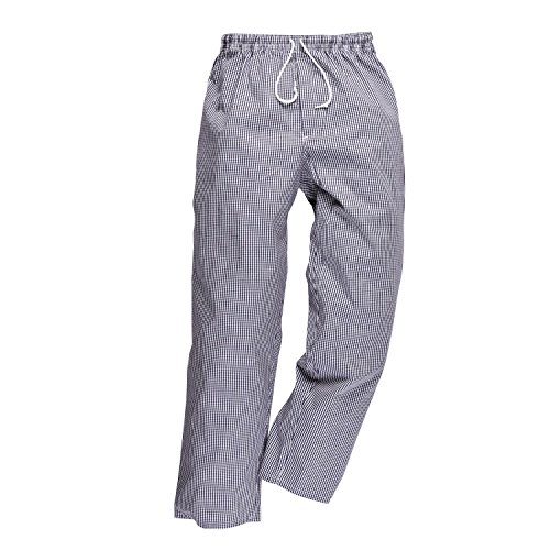 Portwest C079CHTM Pantaloni Bromley da Chef, Bianco/Blu, Medium