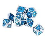 B Blesiya 7pcs Multi-Sided Lega Dice Famiglia D4 D6 D8 D10 D12 D20 per Gioco di Ruolo da Tavolo - Azzurro, 16 millimetri