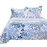 Unimall Wende-Tagesdecke Set mit 2 Kissenbezüge Bettüberwurf aus Baumwolle 230x250 cm, Weiß-Blau-Blumenmuster + Streifen Design