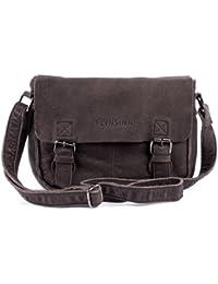 FEYNSINN sac à bandoulière LOUIS - sac en cuir avec bretelle approprié pour tablet - iPad - besace marron en cuir véritable (30 x 22 x 8 cm)