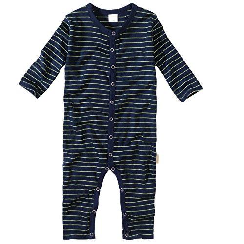 wellyou, Schlafanzug, Pyjama für Jungen und Mädchen, Einteiler langarm, Baby Kinder, marine neon-gelb gestreift, geringelt, Feinripp 100% Baumwolle, Größe 104 - 110 (Langarm-pyjamas Gelb,)