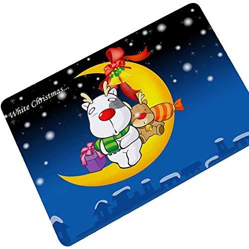 YTTY Cute Christmas Gummi Teppich Matte Kinder Wohnzimmer Schlafzimmer Anti-Rutsch-Tür Matte, Süßigkeits-Mond, 45 * 75 cm