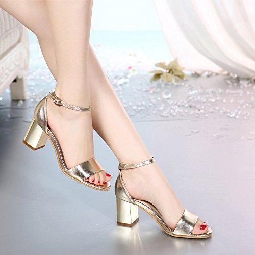 Sommer Damen Mode Sandalen komfortable High Heels, 38 C rot Gold