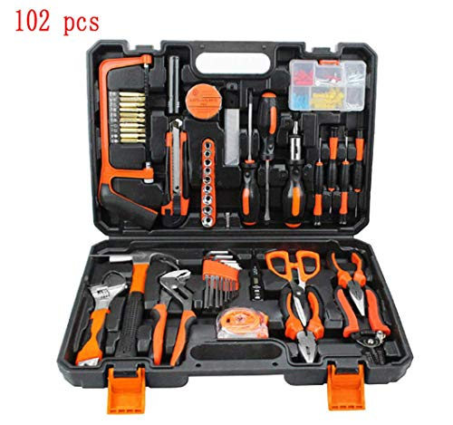 Adoudou Multifunktionale Hardware-Toolbox Chargeable Woodworking Power Tool Combination Set Household Manual Tool Kit Schraubenzieher Elektrische Bohrzange Test Bleistift 102PCS